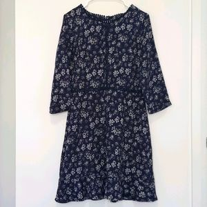 Dex - Floral Dress w/ Crochet Trim and 3/4 Sleeves